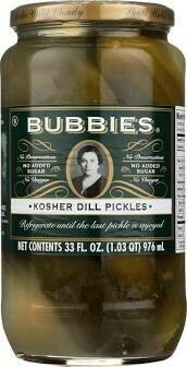 Bubbies Pickle Dill Kosher 33 oz