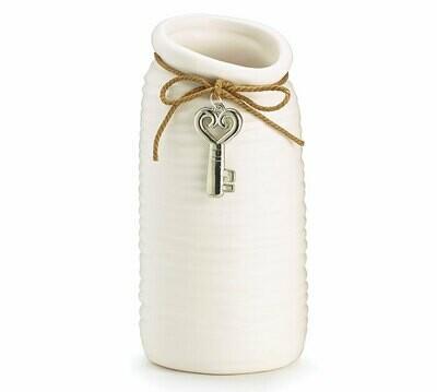 Vase Ceramic Ribbed Matte-2375-HEM