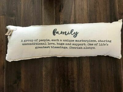Washed Canvas Family Definition Pillow