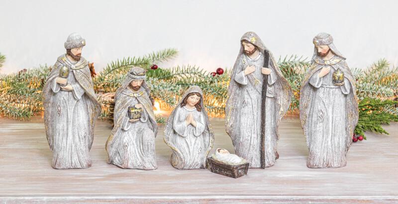 Winter Glitter Nativity Set