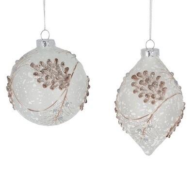Snowy Glass Pinecone Ornament