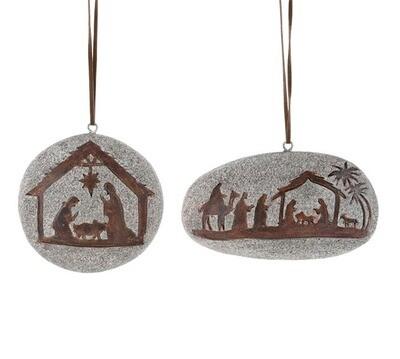 Nativity Rock Ornament