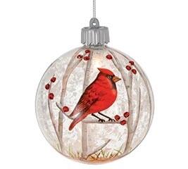 Glass Sitting Cardinal Ornament