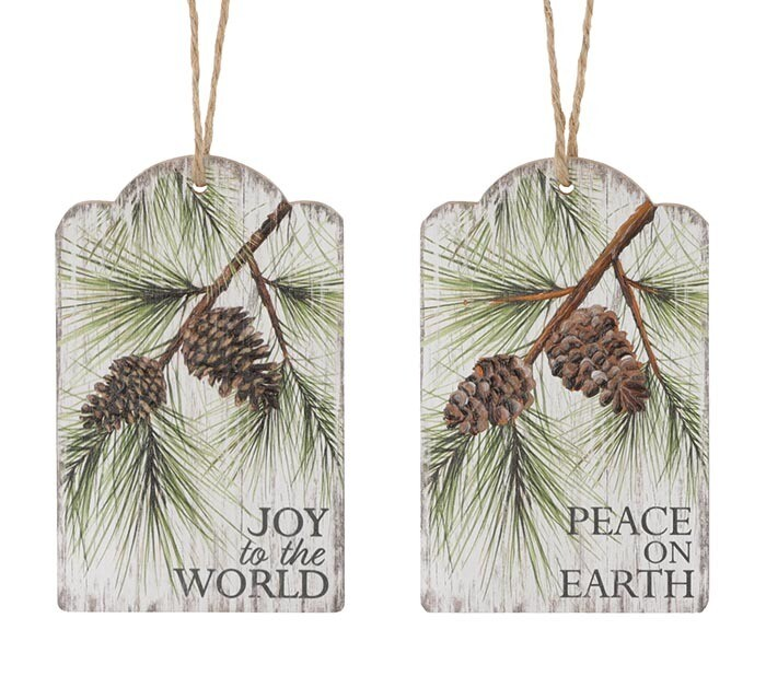 Peace On Earth Pine Ornaments