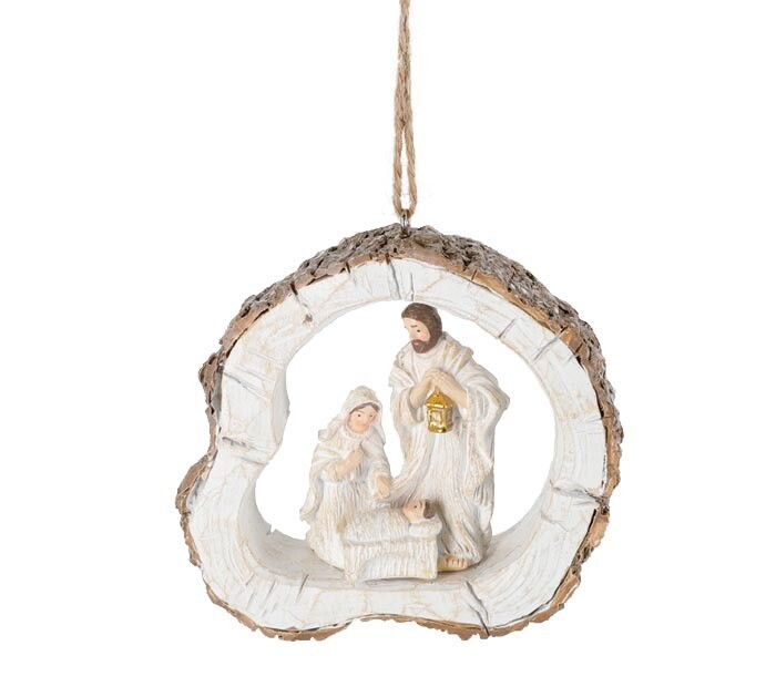 White Holy Family Ornament