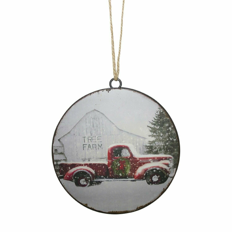 Truck & Tree Farm Disc Ornament