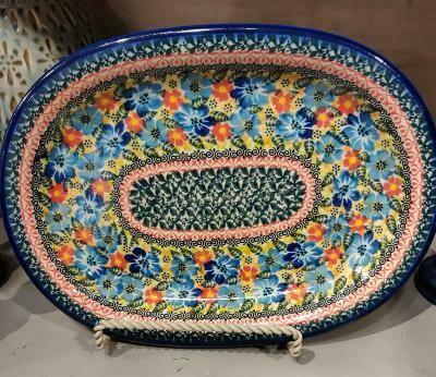 Polish pottery sm. oval platter - Laurel