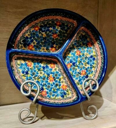 Polish pottery divided plate - Laurel