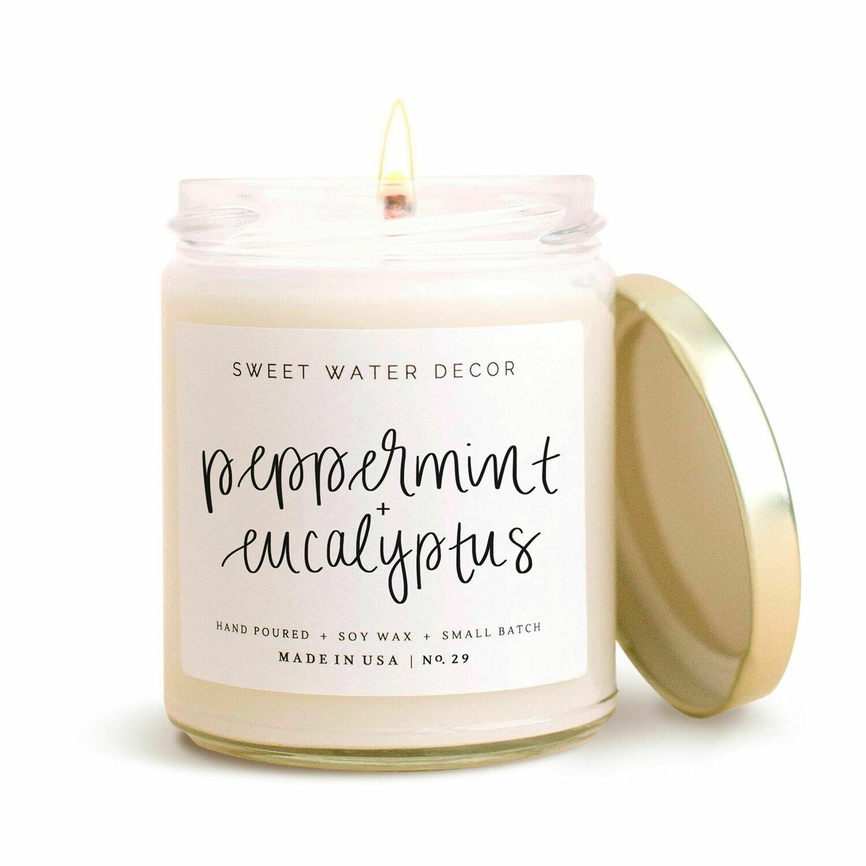 Peppermint & Eucalyptus Soy Candle-3405-HEM