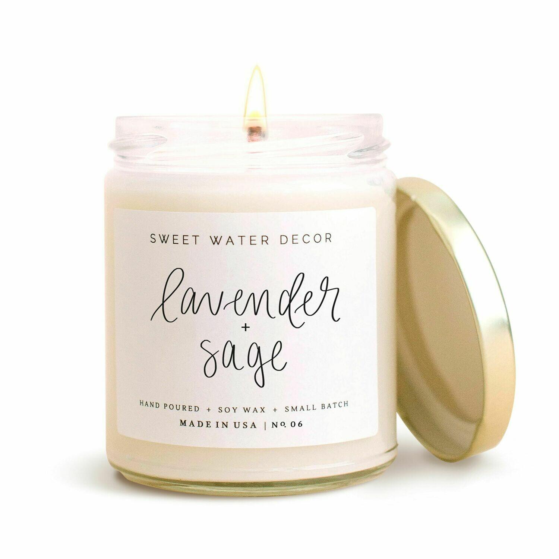 Lavendar & Sage Soy Candle-3408-HEM