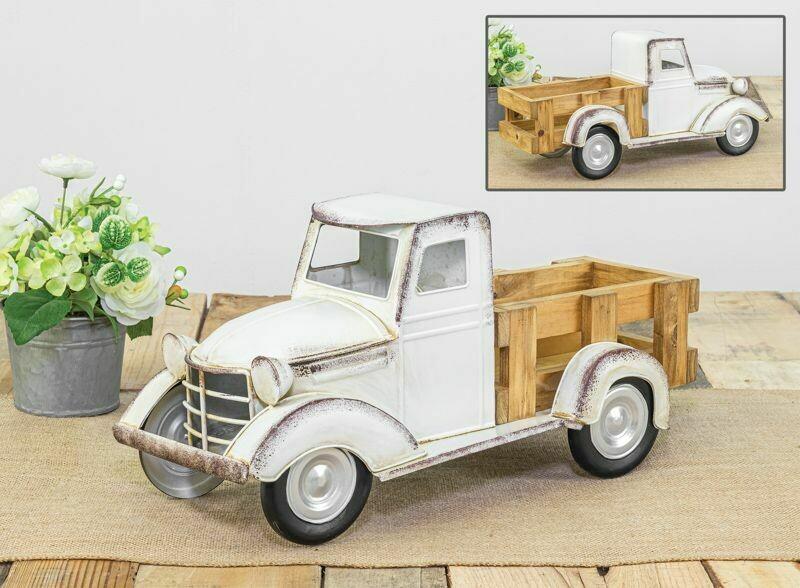 White Wooden Bed Truck - 2138 - HEM