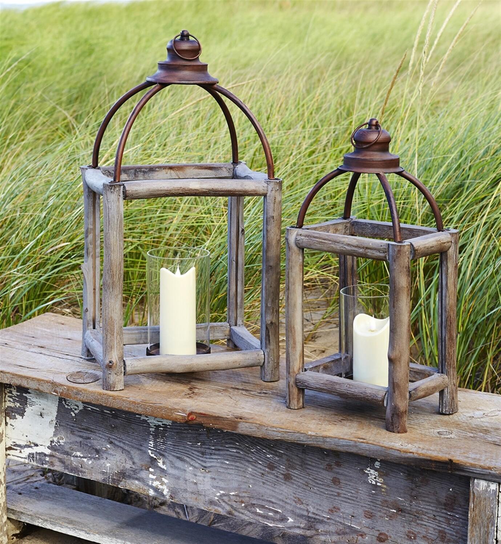 Lantern Wood/Metal/Glass Natural Large - 2821a - HEM
