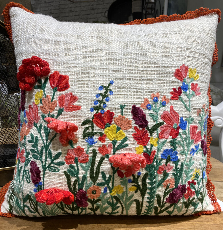 Embroidered Square Pillow - LKAR