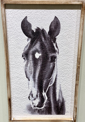 Horse Print Framed on Recycled Paper 14x24 - CHR
