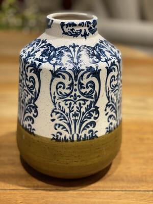 """Vase Blue Damask with Brown Base Ceramic 9"""" - CHR"""