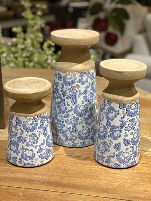 "Candle Holder Set of 3 Blue/White Floral/Terra Cotta 7"",9"",11"" - CHR"