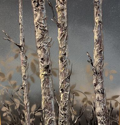 Grey Aspen Acrylic Painting 17x17 - PER