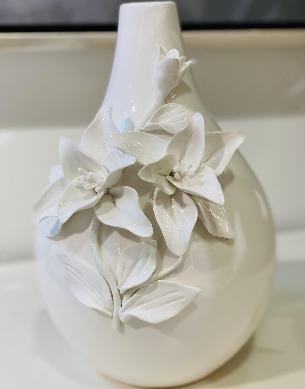 White Raised Floral Vase - DEB
