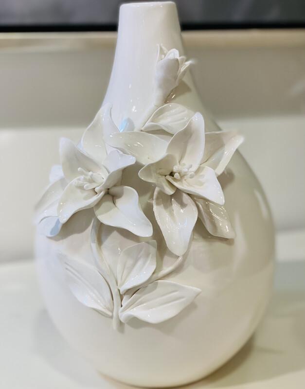 White Raised Floral Vase - DEB