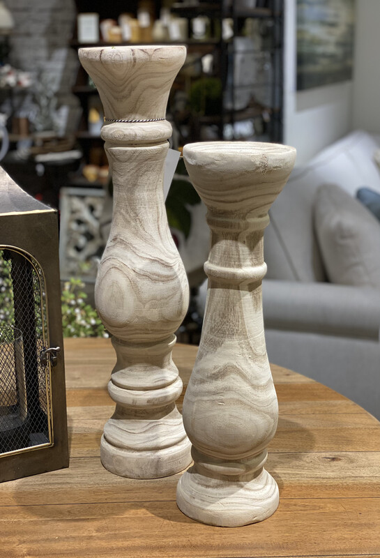 Hand Carved Wooden Candle Holders Natural Finish Set of 2 - CHR