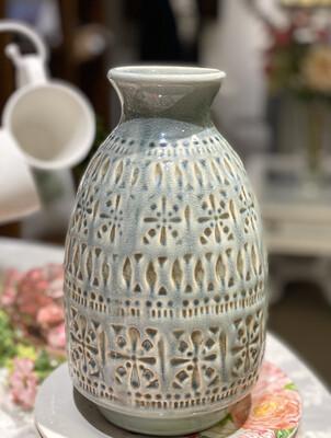 "Vase Legal Ceramic Blue Gray with Design Imprint 10"" - CHR"