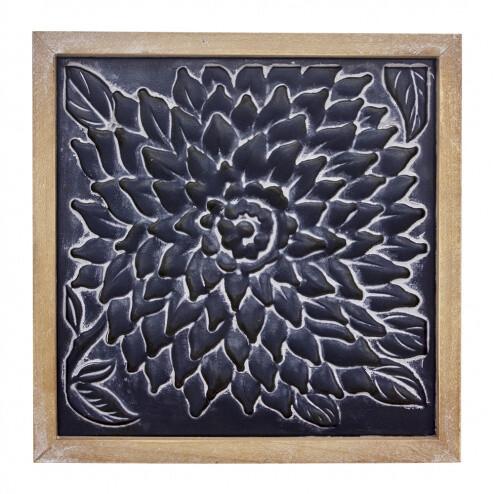 Black Metal Embossed Flower Sign-1803-HEM