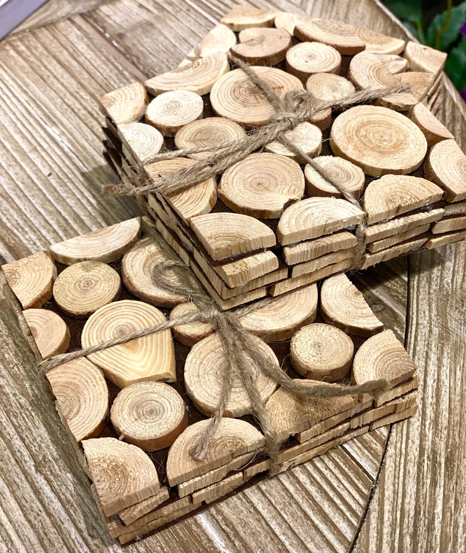 Wood Branch Coaster Set - 1208 - HEM