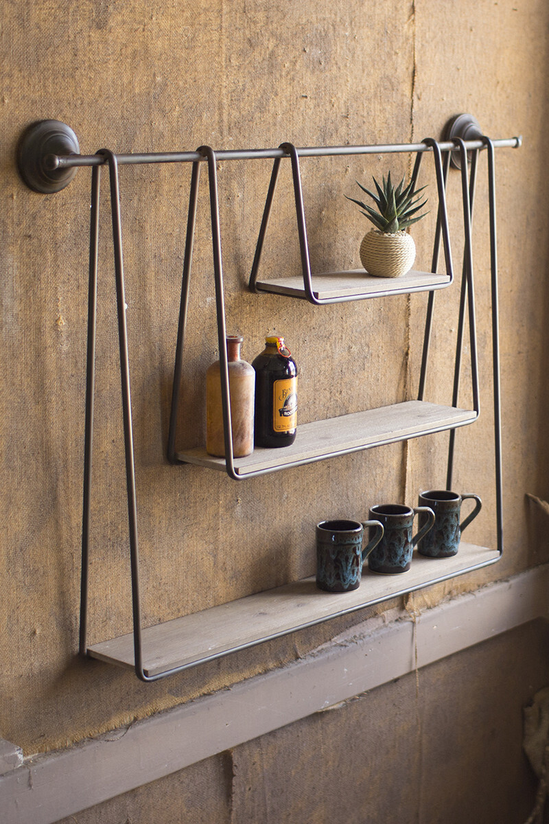 Wood Metal Triple Hanging Shelf - 1416 - HEM