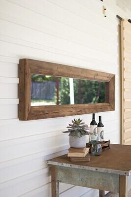 Long Rectangle Mirror Recycled Wood Frame - 1417 - HEM