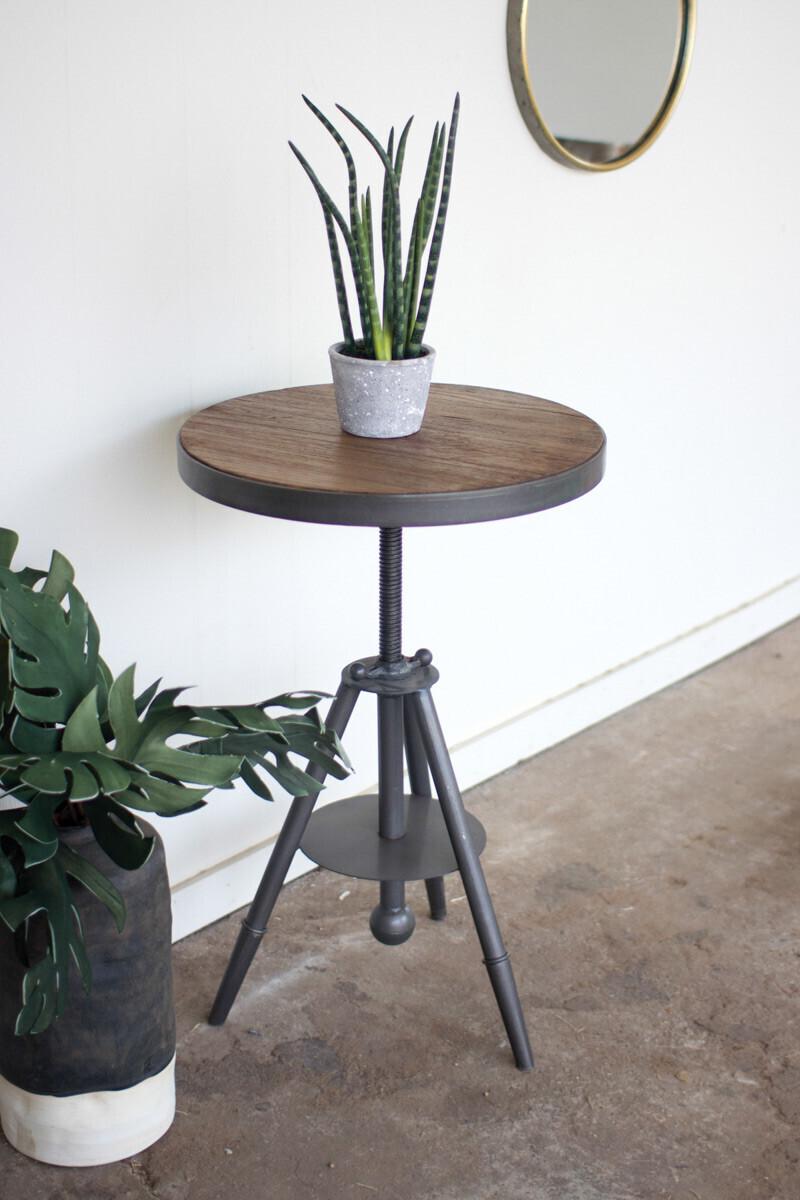 Round Wood Metal Side Table - 1420 - HEM