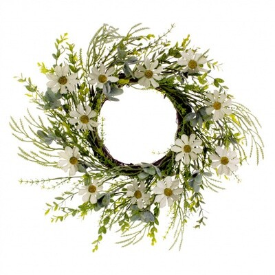 "Rustic White Daisy Wreath 12"" - 1810 - HEM"