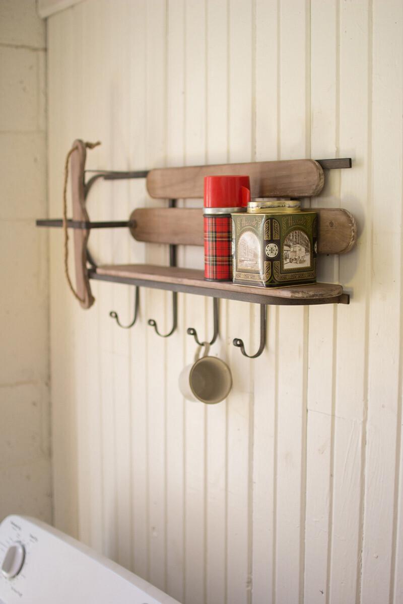 Wood & Iron Sleigh Shelf-1421-HEM
