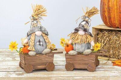 Barn Plaid Gnome Wheelbarrow - 2157 - HEM