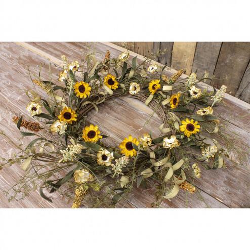 """Cream & Yellow Sunflower Wreath 10"""" - 1830 - HEM"""