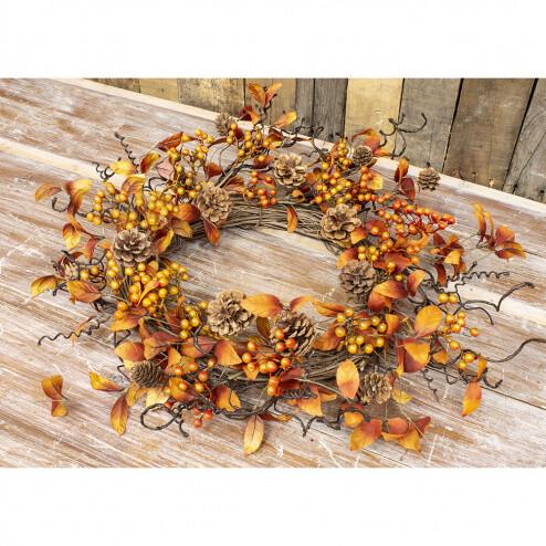 "Orange Leaf & Berry Wreath 10"" - 1829 - HEM"