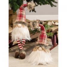Dangle Leg Red Plaid Santa Gnome - 1500 - HEM