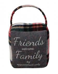 Red/Grey Plaid Friends/Family Doorstop - 1506 - HEM