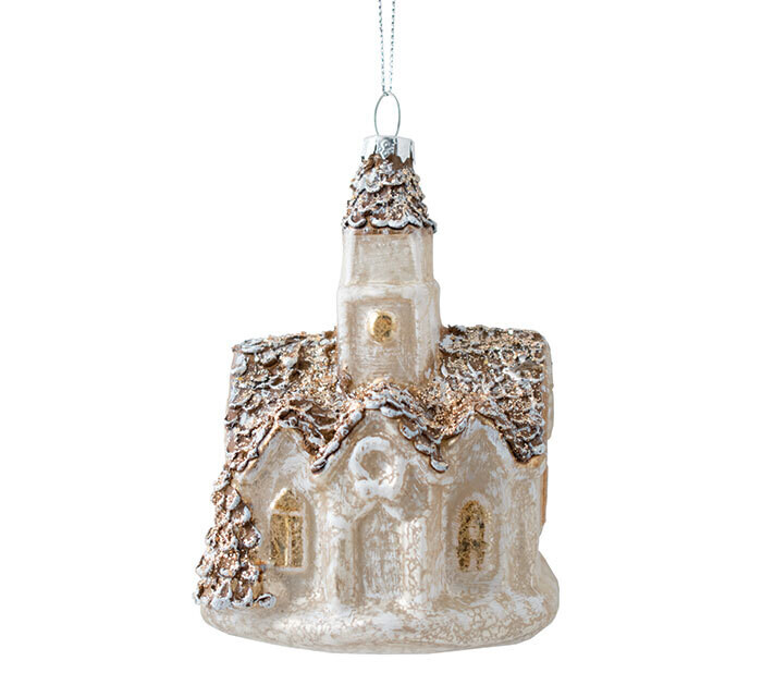 Orn Mercury Glass Church - 2609 - HEM