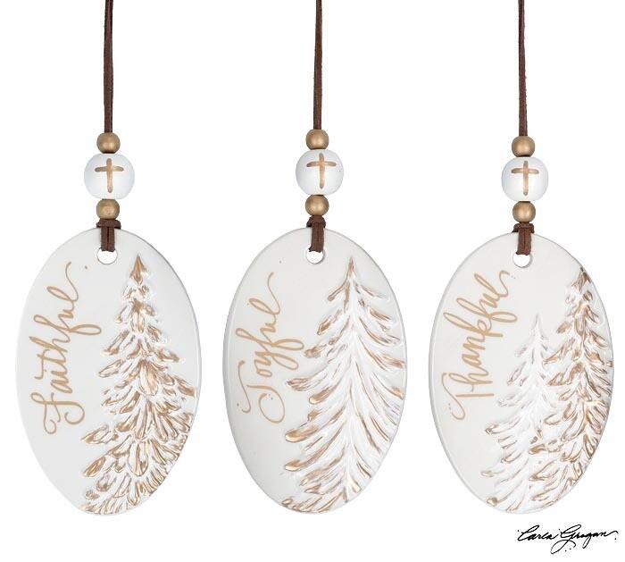 Orn Oval Gold/White Trees - 2627 - HEM
