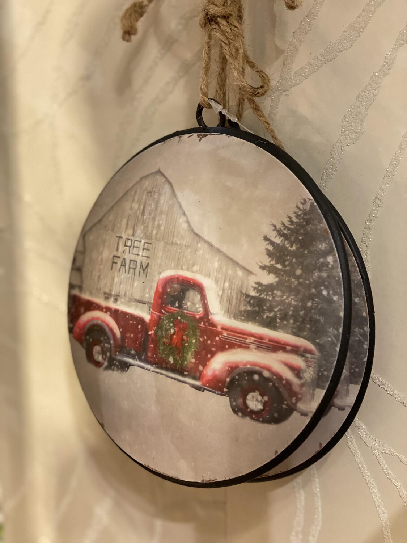 Truck & Tree Farm Disc Orn-2801-HEM