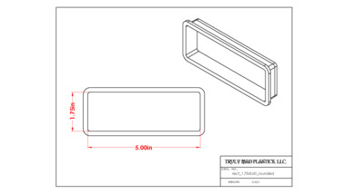 """Rectangle 1.75"""" x 5.00"""" (Rounded)"""