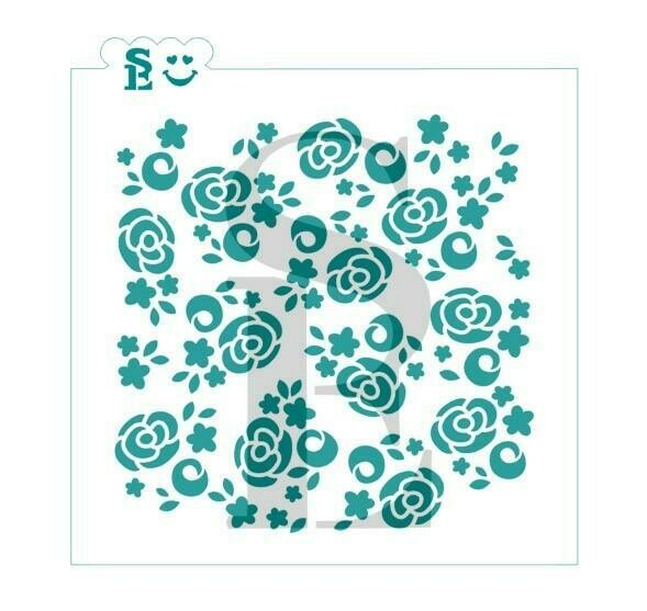 SE Abstract Cabbage Roses Stencil