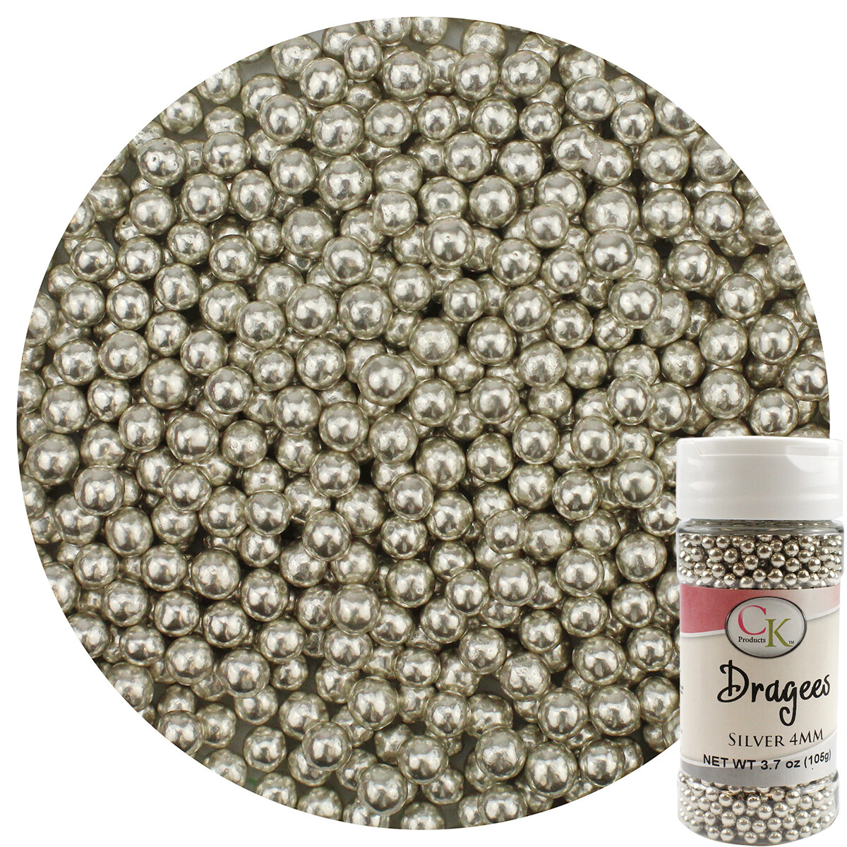 Silver 4mm Dragee