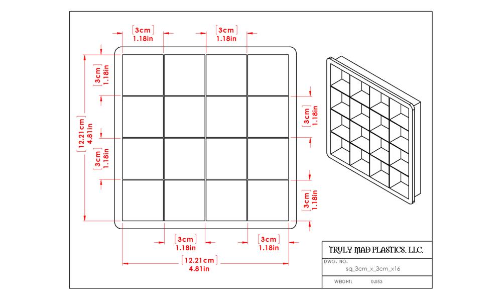 Square 3cm x 3cm x 16