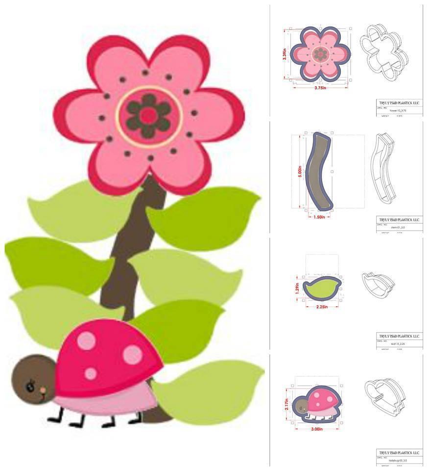 Ladybug Platter Set (stem 01, flower 10, leaf 15, ladybug 03)