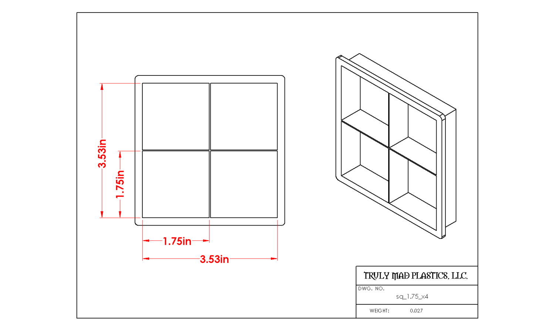 "Square 1.75"" (Cuts 4)"