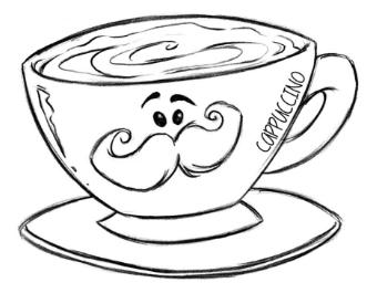 Drawn Cappuccino 01 Coffee