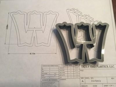 """W 3"""" Fancy Font"""