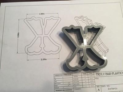 """X 3"""" Fancy Font"""