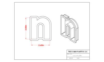"""Helvetica """"n or u"""" lower case 3.0"""""""